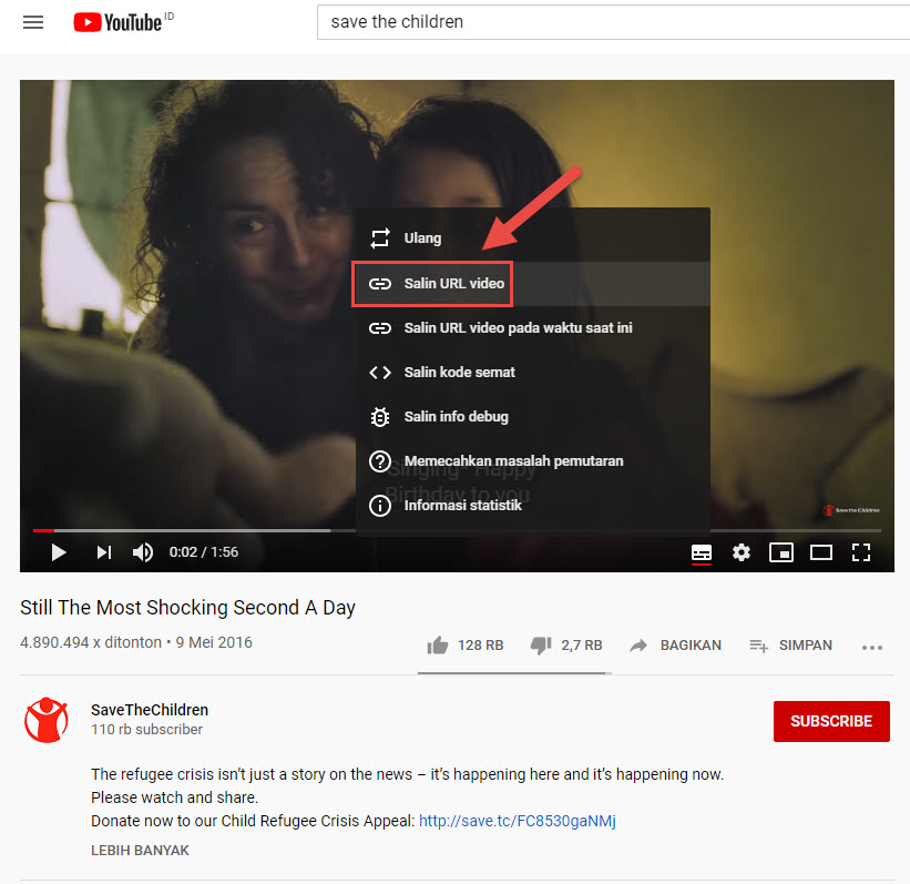 "Buka youtube video, klik kanan pilih ""salin URL video"""